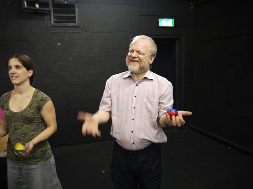 Juggling – Sandy and Amelia  happily having a go!