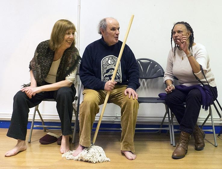Maria Oshodi sits talking to actors Heather and John