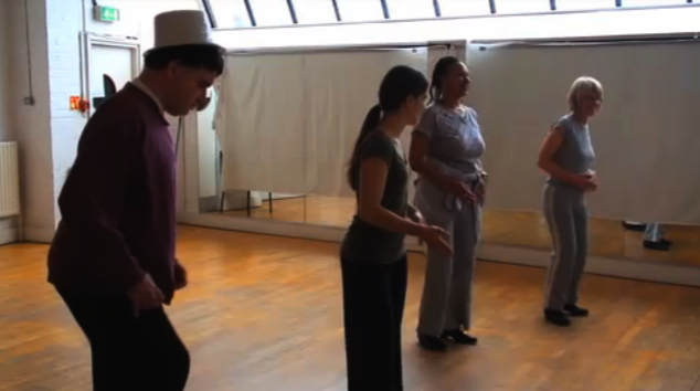Four of the participating dancers rehearse in a dance studio. Film of a participation project
