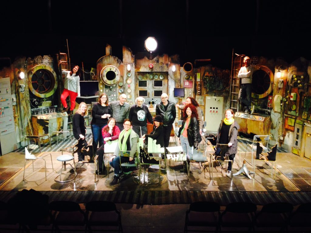 Picture of the cast and crew of the Chairs 2014 production on set for the final night at The Albany theatre.