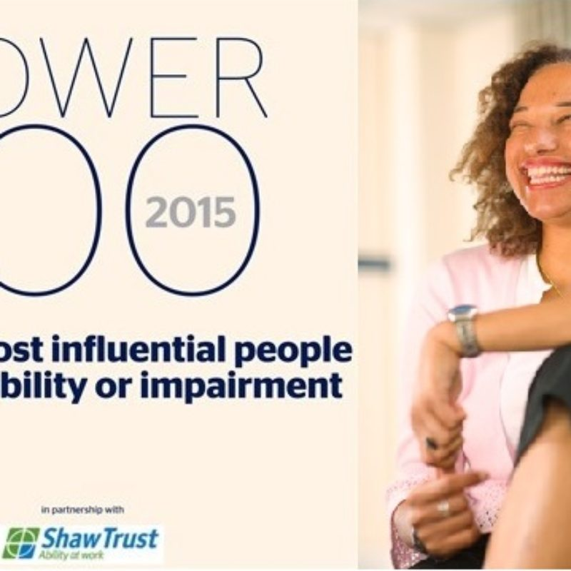 The cover of the Disability Power 100 report next to a picture of Maria Oshodi smiling