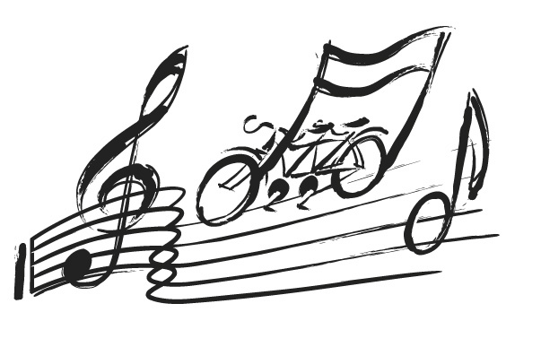 Illustrated logo for Tandemonium – a tandem rides along a musical score