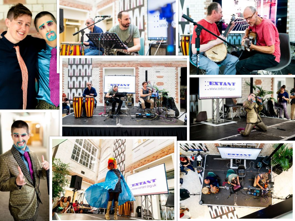 A collage of performances from extant's Brixton event, two men on the banjo, a man in sunglasses on the congas, a blind male playing guitar, and a fabulous drag king and queen