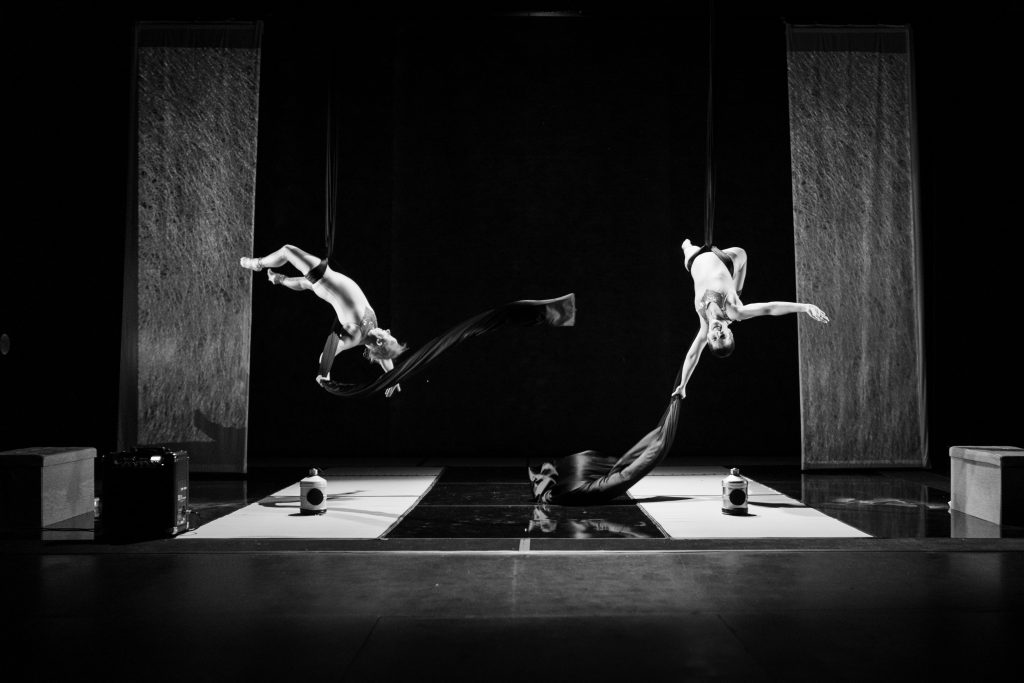 A black and white wide landscape shot of two white women on aerial silks mid-fall