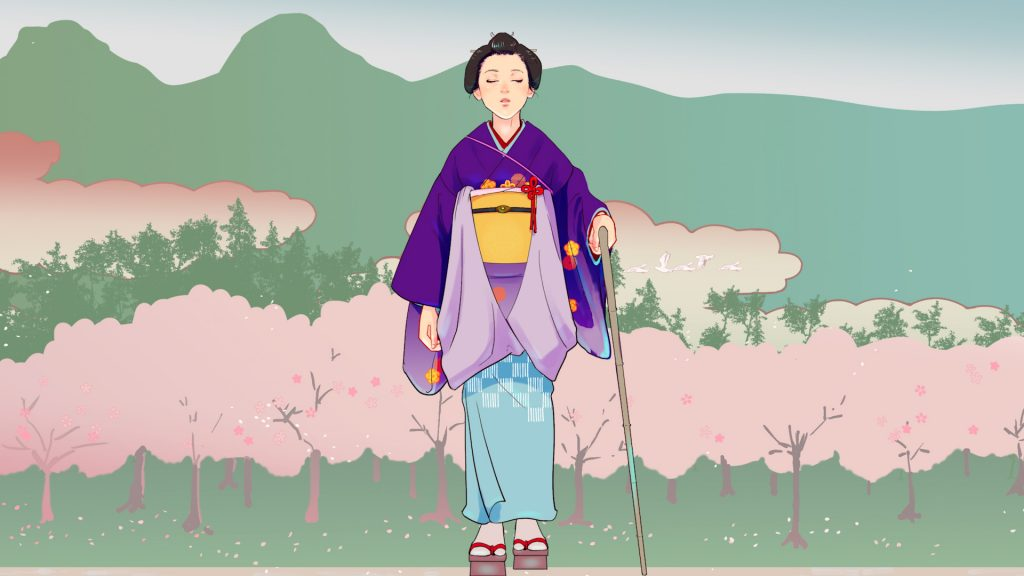 A digitally animated drawing of a blind Japanese woman walking in front of a forest and mountain landscape. She is directly facing us, wearing an ornate purple and light blue kimono patterned with orange flowers and holding a stick. In the background, trees shaded in pastel pink and green form the base of a mountain range, coloured in green.