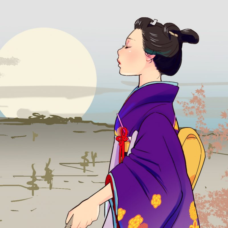A digitally animated drawing of a blind Japanese woman walking in an open landscape in close up. She is in side profile, wearing a purple and light blue kimono patterned with orange flowers. The background is shaded in muted browns, and a pale yellow sun looms in the horizon.