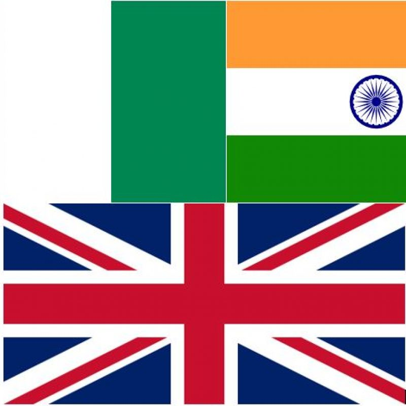 From left to right, the Nigerian flag, the Indian flag and the UK flag.
