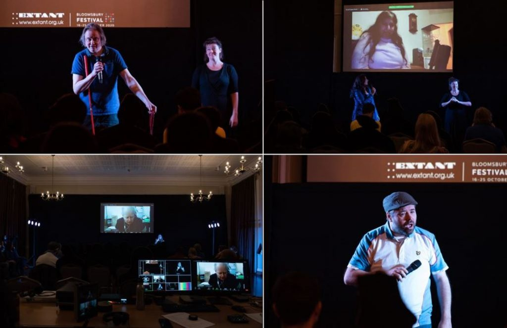 Clockwise from top left: Stephen, an older white man holds an orange cane and a short piece of rope while talking into the microphone, next to the BSL interpreter; Kirin, a woman of South Asian heritage, appears on video via a projection screen. Ashrafia, a woman of South Asian heritage stands on stage looking at the video screen talking; A close up of Steven, a middle aged white man talking with his mouth open and his microphone held diagonally across his chest; From a perspective behind the tech desk, Michael, an older white man appears via video on a projection screen. A computer on the tech desk shows the same image