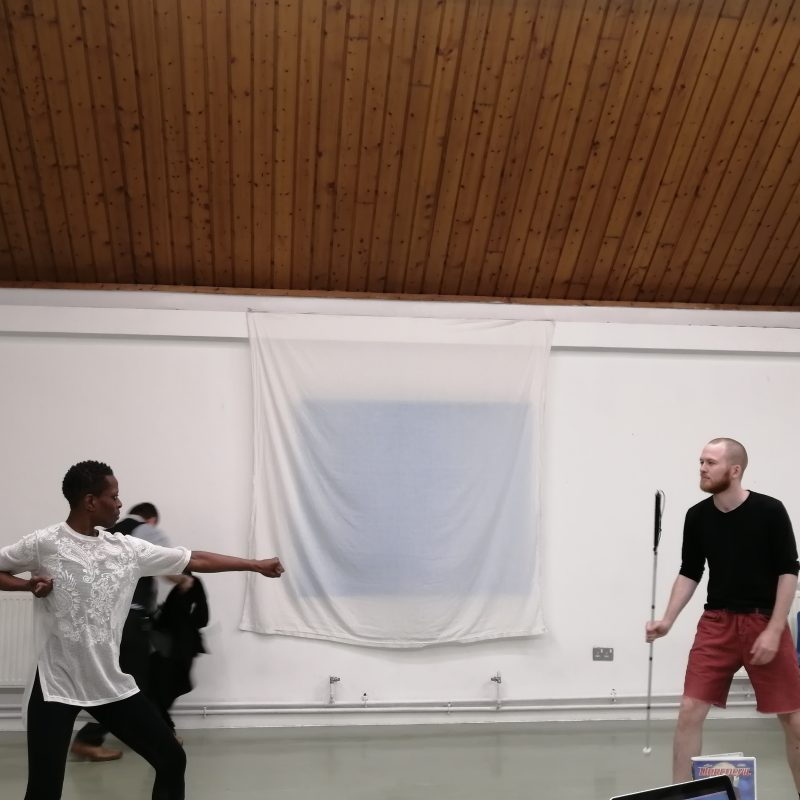 A Black woman motions with her arms in a fighter pose towards the young white man holding his cane ready for action
